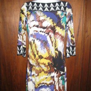 Ali Ro Dresses - ALI RO Printed Stretchy Jersey spade 3/4 Slv Dress
